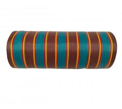 Plástico reciclado rayado Tela de plástico con rayas azules, marones y rojas babachic