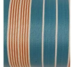 Accueil Toile plastique recyclée rayures bleues, écrues et orangées.