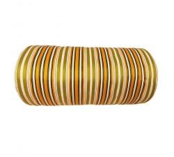 Inicio Tela de plástico reciclado, diseño de rayas verde, amarillo, naranja y blanca.