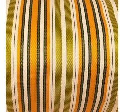 Accueil Toile plastique recyclée rayures vert olive, blanches, orange et jaunes