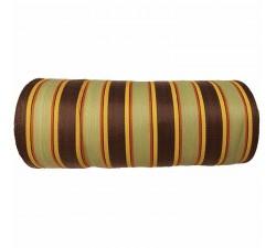 Inicio Tela de plástico reciclado, diseño de rayas anis, marones,rojas y amarillas