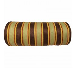 Accueil Toile plastique recyclée rayures anis, marrons, rouges et jaunes
