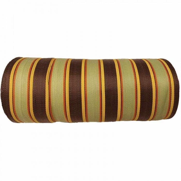 Recycled canvas of plastic and fiber waste, ansi, brown, red and yellow stripes