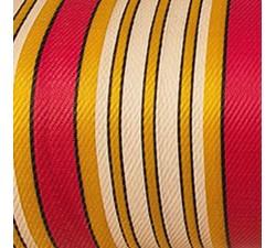 Plástico reciclado rayado Tela de plástico con rayas blanca, fuscia y amarilla babachic