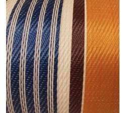 Recycled canvas of plastic and fiber waste, orange, blue, white and brown stripes