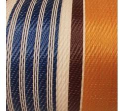 Accueil Toile plastique recyclée rayures oranges, bleues, blanches et marrons.