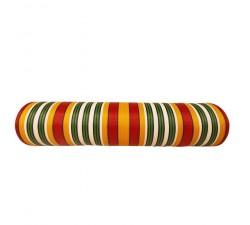 Accueil Toile plastique recyclée rayures jaunes, rouges, blanches et vertes, surpiqures noires