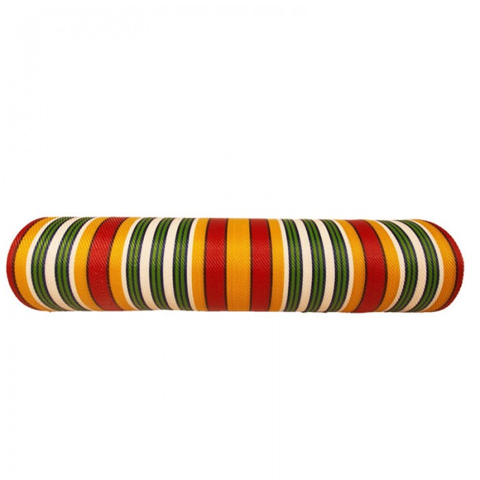 Recycled canvas of plastic and fiber waste, red, yellow, white and green stripes.