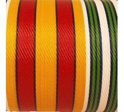 Inicio Tela de plástico reciclado, diseño de rayas rojs, amarillas, verdes y blancas