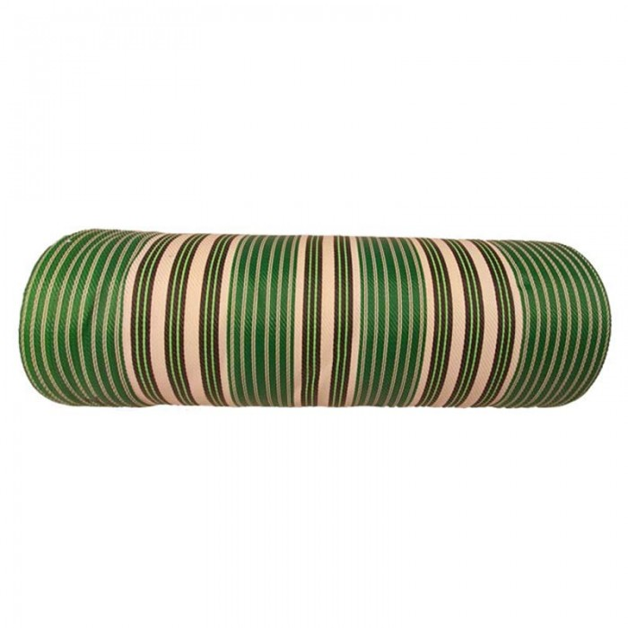Canvas of recycled plastic fabris in white, green and black stripes