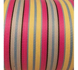 Home Canvas of recycled plastic fabris in ecru, fuscia, lignt blue stripes