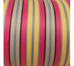 Accueil Toile plastique recyclée de rayures jaune pâle, rose, bleues