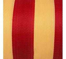 Inicio Tela de plástico reciclado, diseño de rayas, crudas y fuscia, ideal para fabricar bolsos