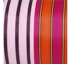 Home Canvas of recycled plastic fabris in black, white, fuscia and orange stripes. ideal to design your own totebag.