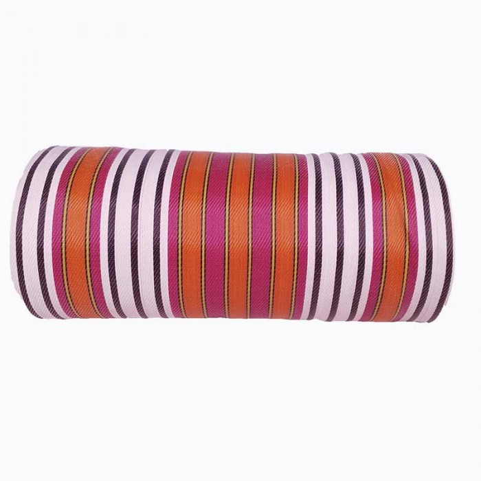 Canvas of recycled plastic fabris in black, white, fuscia and orange stripes. ideal to design your own totebag.