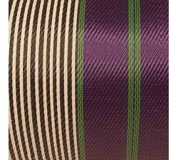 Home Canvas of recycled plastic fabris in black, white, purple and green stripes. a DIY must have for bags'makers.