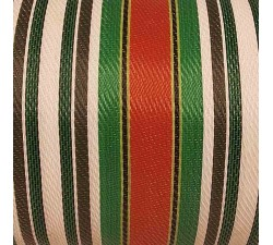 Home Canvas of recycled plastic fabris in black, white, red and green stripes, great fabric for bag designers
