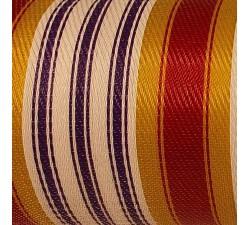 Inicio Tela de plástico reciclado, diseño de rayas blancas, moras, amarillas y rojas, ideal para sus labores manuales