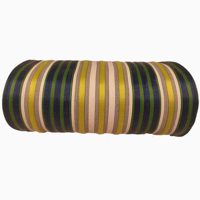 copy of Canvas of recycled plastic fabrics in orange, fuscia, white, black and yellow stripes