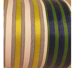 Home copy of Canvas of recycled plastic fabrics in orange, fuscia, white, black and yellow stripes