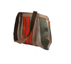 Inicio Bulbi, bolso tipo bowling hecho de plástico reciclado de color Kaki-gris y naranja