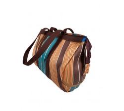Bulbi Bag - Tobacco-blue (maroon, beige and blue) bowling bag