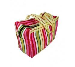 Accueil RP thin Fucsia, jaune et vert - Cabas anses longues couleur rose, blanc et bleu