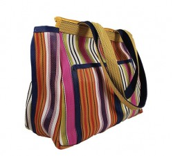 Home Patch3 multicolored recycled plastic canvas hand bag