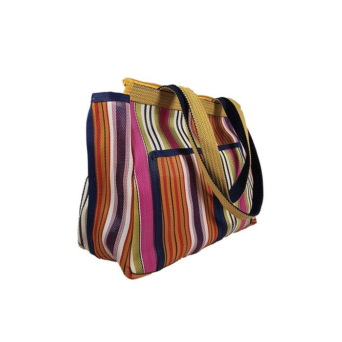 Patch3 multicolored recycled plastic canvas hand bag