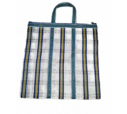 Tote bags Simple Zip tote in White and blue squares Babachic by Moodywood