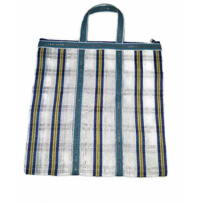 Simple Zip tote in White and blue squares