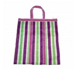 Tote bags Bolso indio simple con cuadros blancos y rayas fucsia y verde Babachic by Moodywood