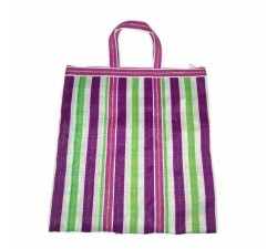 Tote bags Simple Zip tote in White squares and green and fucsia stripes Babachic by Moodywood