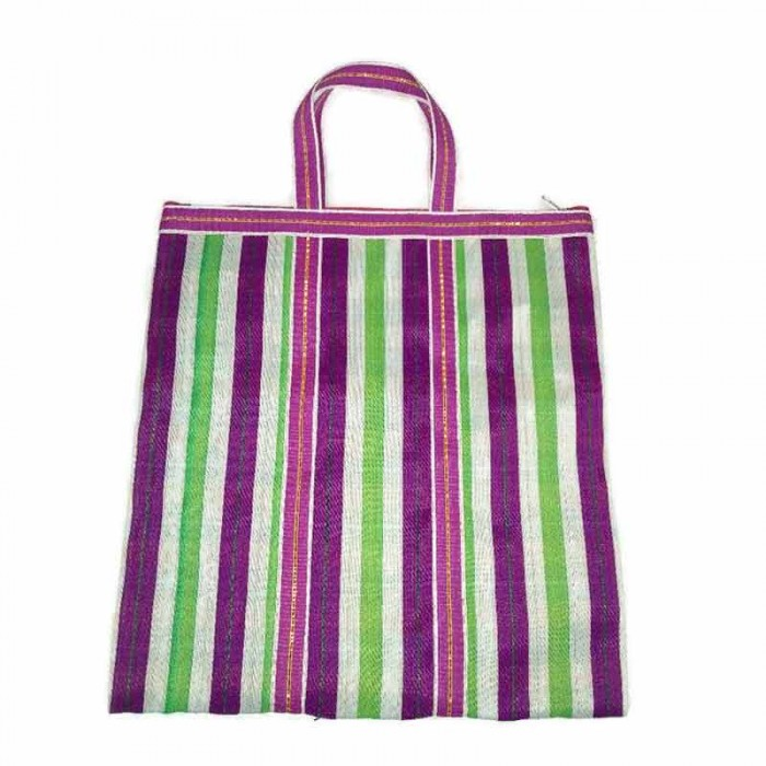 Simple Zip tote in White squares and green and fucsia stripes