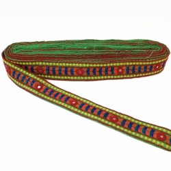 Ethnic embroidered braid - Multicolors - Decorated with small mirrors - 30 mm