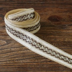 Braid Velvet ribbon - Beige - 35 mm