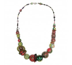 Collier mi long rouge/vert - Winter nights