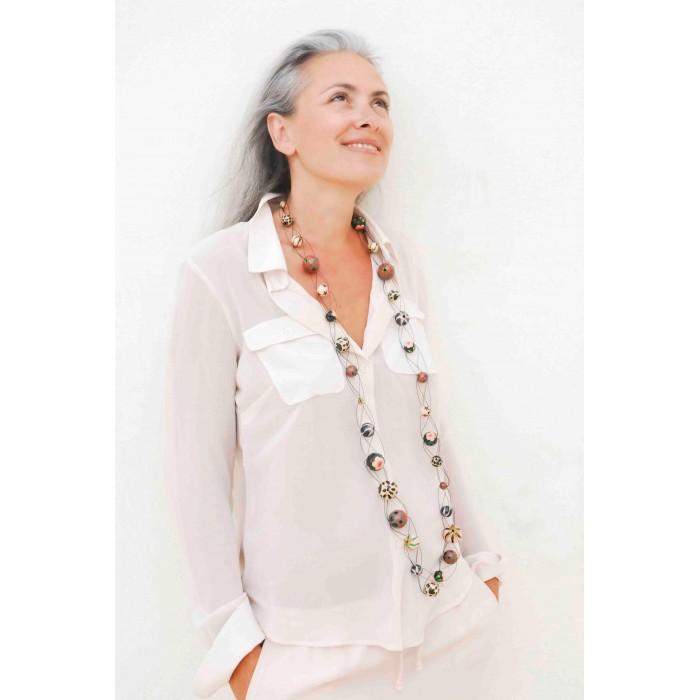 Long mesh necklace beige/black - Winter nights