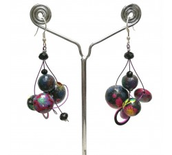 Boucles d'oreilles Boucles Twist prune - 4 cm - Winter nights Babachic by Moodywood