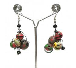 Earrings Twist Green/red earrings - 4 cm - Winter nights Babachic by Moodywood