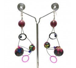 Boucles d'oreilles Boucles Sequin prune - 6,5 cm - Winter nights Babachic by Moodywood