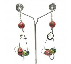 Earrings Sequin earrings green/red - 6,5 cm - Winter nights Babachic by Moodywood