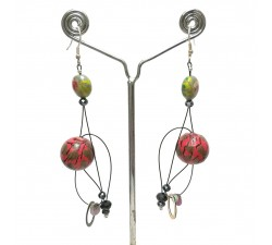 Boucles d'oreilles Boucles Abis rouge/vert - 7 cm - Winter nights Babachic by Moodywood