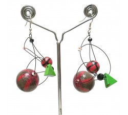 Boucles d'oreilles Boucles Satellites rouge/vert - 5,5 cm - Winter Night Babachic by Moodywood