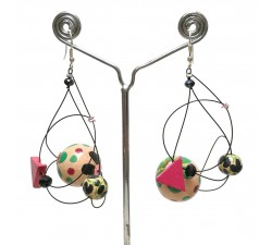 Boucles d'oreilles Boucles Satellites beige/noir - 5,5 cm - Winter Night Babachic by Moodywood