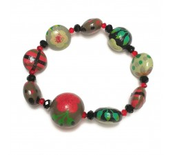Bracelets Elastic bracelet green/red - Winter Nights Babachic by Moodywood