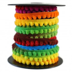 Les minis Galon de mini pompons - Multicolore - 10 mm babachic