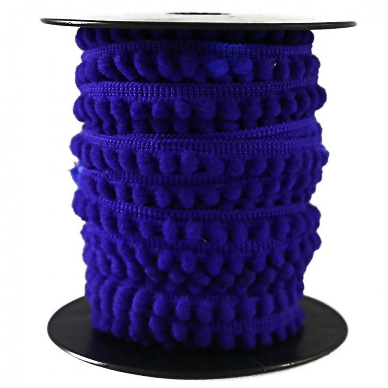 Galon de mini pompons - Bleu - 10 mm