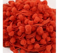 Les moyens Galon Pompons - Orange - 25 mm babachic
