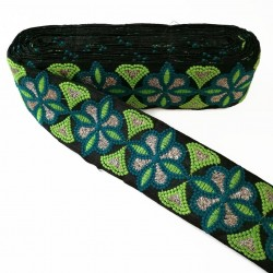 Embroidery Embroidery rosette - Black, green and blue - 60 mm babachic